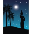 Woman with vessel icon Desert on night design vector image