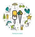 yummy ice cream - round line concept vector image