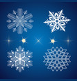 set of snowflakes and stars icons vector image