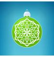 Green Ball with Snowflake Merry Christmas vector image