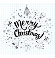 Christmas postcard template with doodles vector image