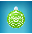 Green Ball with Snowflake Merry Christmas vector image