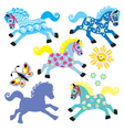 set with cartoon decorative horses vector image