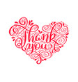 texts thank you in the shape of a heart hand vector image