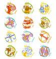 maya art stylized zodiac signs vector image