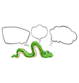 A green snake with the empty bubble notes vector image vector image