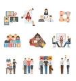 Teamwork flat icons set vector image