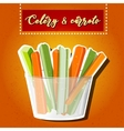 celery and carrots sticks Raw food vector image