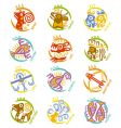 maya art stylized zodiac signs vector image