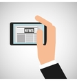 news digital mobile hand holding design vector image