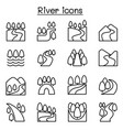 river lake canal icon set in thin line style vector image