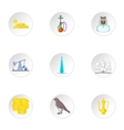 Stay in UAE icons set cartoon style vector image