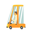 yellow cartoon car with driver vector image