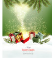 Christmas holiday background with presents and vector image