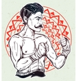Vintage retro boxer fighter player vector image