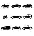 Six car shapes vector image vector image