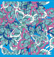 pattern with butterflies on a blue background vector image vector image