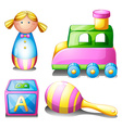 Toys set on white vector image