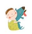Little boy with a dog hugging vector image vector image