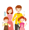 Happy Family With Teeth Cleaning Accessories vector image