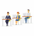call center workers - modern cartoon people vector image