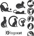 cat logo set vector image