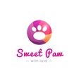cute paw logo Pet shop sign vector image