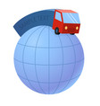 delivery truck and world earth globe - trucking vector image