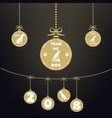 golden christmas ball christmas ornaments hanging vector image