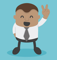 Young African businessman shows Victory Sign vector image