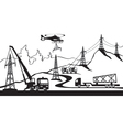 Construction of electric transmission line vector image