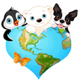 Earth heart with animals vector image