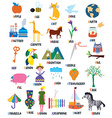 Abc for kids with animals objects toys vector image