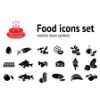 Food icon set Fish sweets mushrooms honey tea vector image