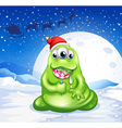 A monster wearing Santas hat while eating a vector image