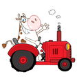 Cow Farmer Waving And Driving A Red Tractor vector image