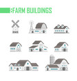 five farm buildings set of icons - vector image