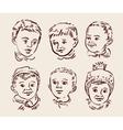 Hand drawn sketch set children vector image