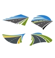 Highways and roads icons with landscape vector image