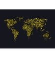 Golden sparkles World map vector image