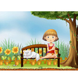 A girl with a cat in the garden vector image vector image