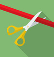 Icon of Scissors Cutting the Ribbon Flat style vector image