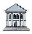 bank building facade exterior column business vector image