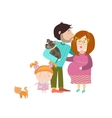 Happy parents with pregnant belly vector image