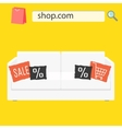 Online shop sale banner with white sofa and vector image