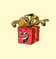 red gift box cute smiley face character vector image