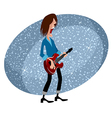 rock star with guitar for musical design vector image