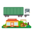 Street seller with stall fruits and truck cargo vector image