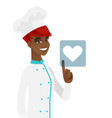 young african chef pressing web button with heart vector image