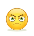 Angry emoticon on white background vector image